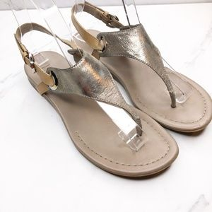Franco Sarto Grip Metallic T-Strap Sandals Size 6
